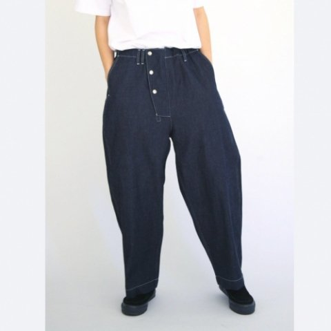 "Anachronorm ""8oz Denim Hem Wide Easy Pants(indigo rigid)"""