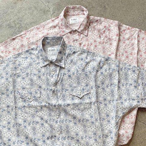 "H.UNIT ""Bandana Print Western Dolman Short Sleeve Shirt"""