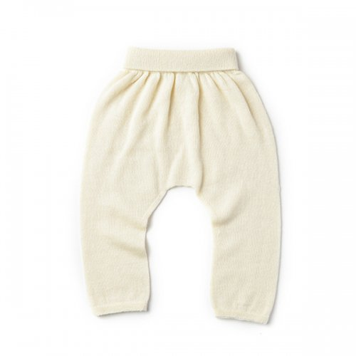 カシミヤ・シルク・ コットン 縫い目のない パンツ (ホワイトカシミヤ)