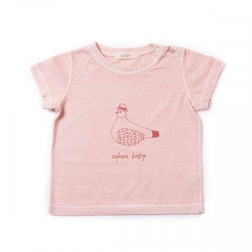 ベンガラ染めTシャツ 鳩・春桜色