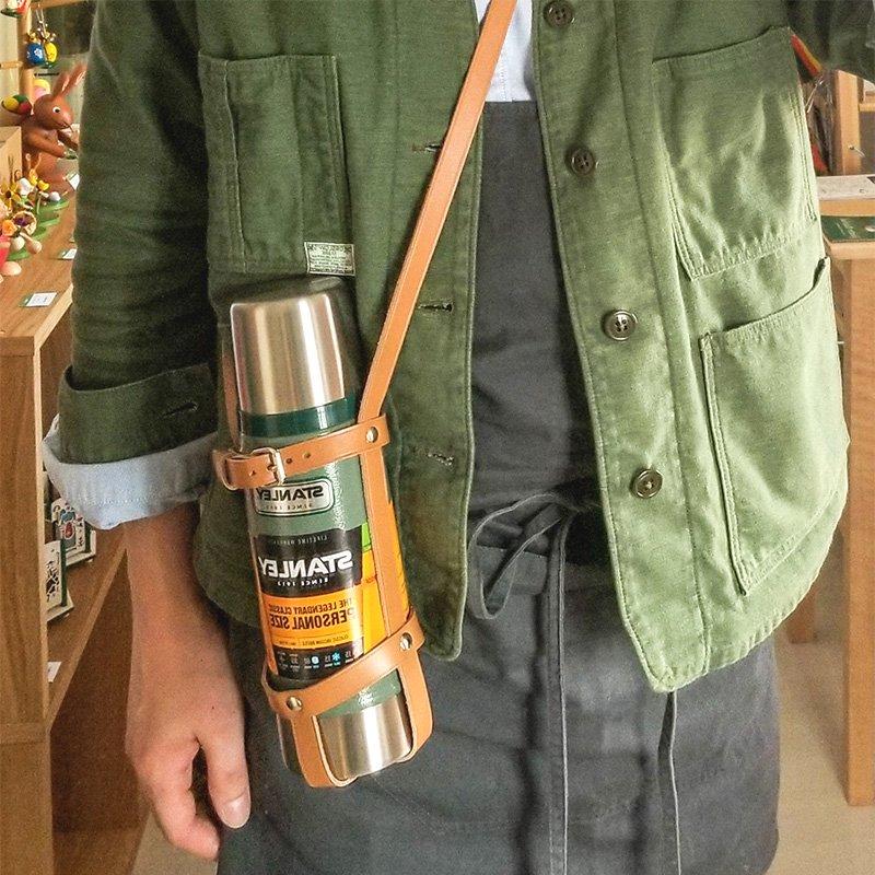 松野屋 THREAD-LINE スレッドライン 牛革ボトルホルダー 0.47Lボトル専用