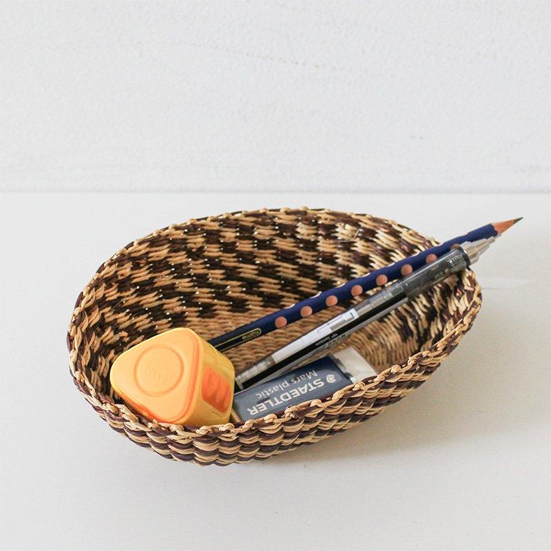 松野屋 ブルキナバスケット 楕円皿 ミニカラー ブラウン×ナチュラル