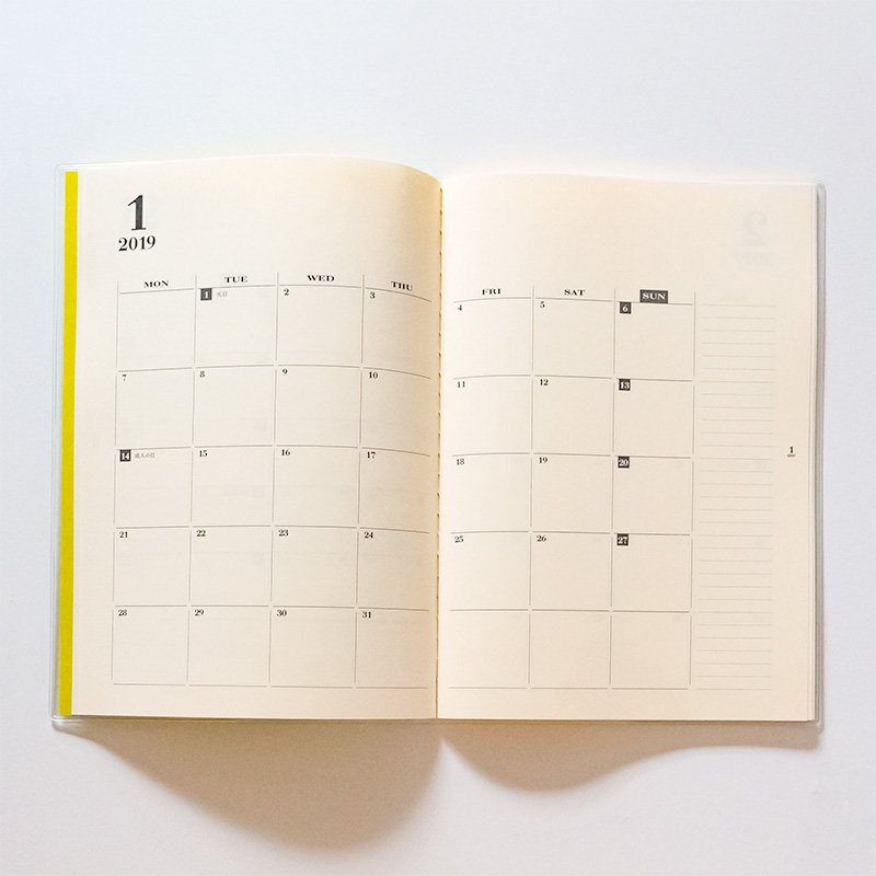 LIFE ライフ カレンダーノート A5 横罫 2019年版