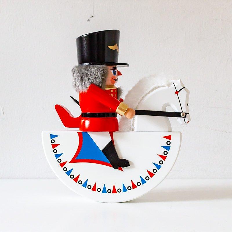 HoDreWa Legler レグラー 木馬に乗ったくるみ割り人形 騎兵 赤 21cm