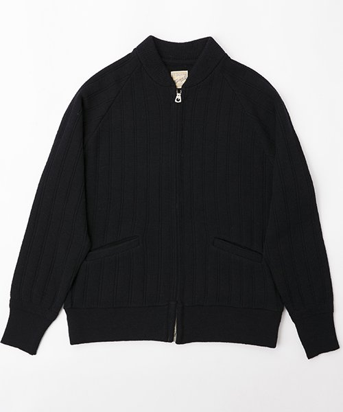 RAGTIME DROP NEEDLE KNIT ZIP UP JACKET