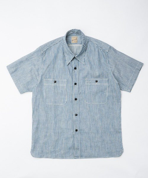 RAGTIME TRIPLE STITCH HICKORY STRIPE S/S SHIRTS