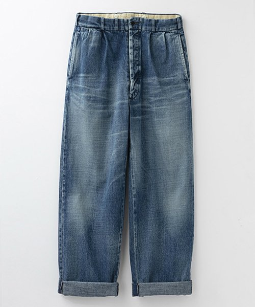RAGTIME DENIM 2TACK TROUSERS ROLLED UP HEM AGED
