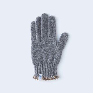 ハマグリ刺繍がかわいいウールの手袋(WOMEN グレー)/tet.