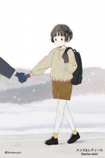 ハマグリ刺繍がかわいいウールの手袋/tet.