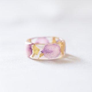 光透き通る、花と金箔のリング(アジサイ紫)/nico design