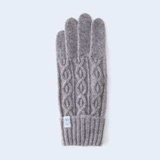 小さくコンパクトなケーブルニットの、上品なメンズカシミヤ手袋(ブラウンベージュ)/tet.