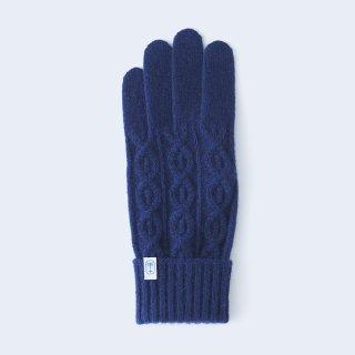 小さくコンパクトなケーブルニットの、上品なメンズカシミヤ手袋(ネイビー)/tet.