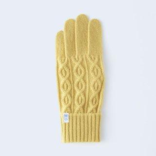 小さくコンパクトなケーブルニットの、上品なメンズカシミヤ手袋(イエロー)/tet.