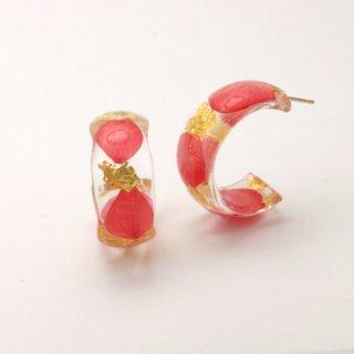 光透き通る、花と金箔のピアス(アジサイ赤)/nico design