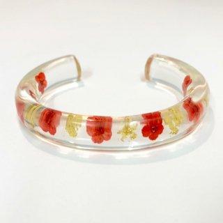 光透き通る、花と金箔のバングル(赤)/nico design
