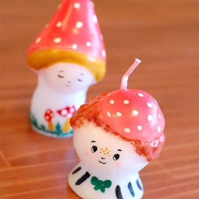 pichio candle(ピチオキャンドル) キノッこさんとお洒落さん 絵付けキャンドル