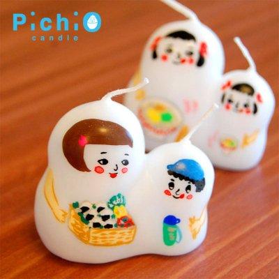 pichio candle(ピチオキャンドル) こけしの親子 絵付けキャンドル