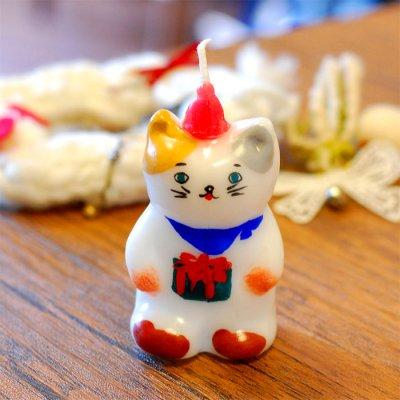 pichio candle(ピチオキャンドル) 猫立ちサンタ 絵付けキャンドル