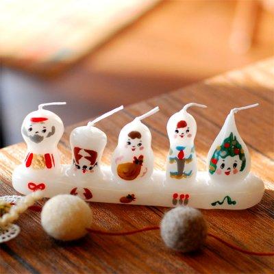 pichio candle(ピチオキャンドル) 5人組クリスマス 絵付けキャンドル