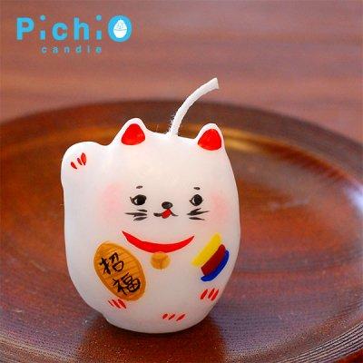 pichio candle(ピチオキャンドル) 招き猫 絵付けキャンドル