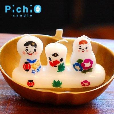 pichio candle(ピチオキャンドル) 3人組 妖怪 絵付けキャンドル