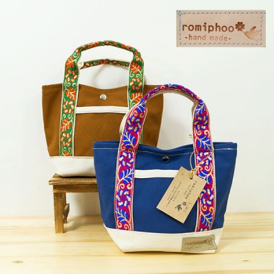romiphoo(ロミプー) チロリアンテープミニ帆布トートバッグ レディース トート バッグ
