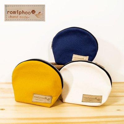 romiphoo(ロミプー) 帆布ラウンドポーチ おしゃれ&かわいい小物入れポーチ