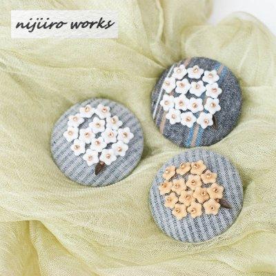 nijiiro works(ニジイロワークス) 亀田縞の生地を使ったお洒落なブローチ レディースのかわいいブローチ