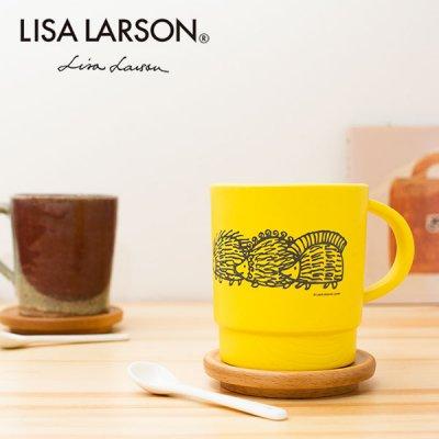 LISA LARSON(リサラーソン) ハリネズミ 木目スタッキングコップ(340ml) 北欧おしゃれ&かわいいマグカップ