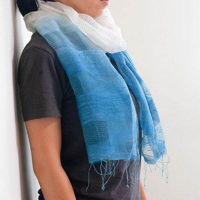 宮崎あゆみ(みやざきあゆみ) ぼかし藍染め コットン シルクストール レディース大人風の綺麗めストール