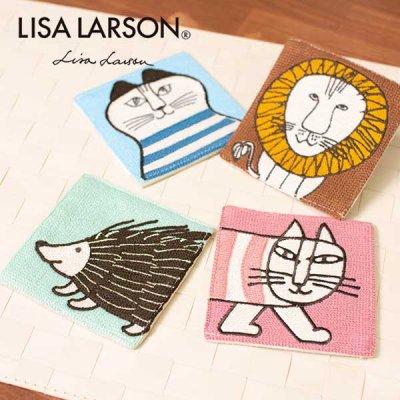 LISA LARSON(リサラーソン) チェーンステッチ刺繍コースター マイキー・ライオン・ハリネズミのコースター