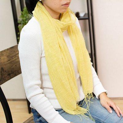 宮崎あゆみ(みやざきあゆみ) 綿・麻ネムノキ染めストール レディース大人風の綺麗めストール