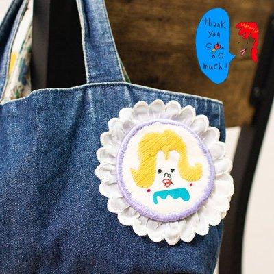 uRiiiy(ウリ) カラフルで可愛い 刺繍 ブローチ  刺繍ブローチシリーズのマルシエさんブローチ