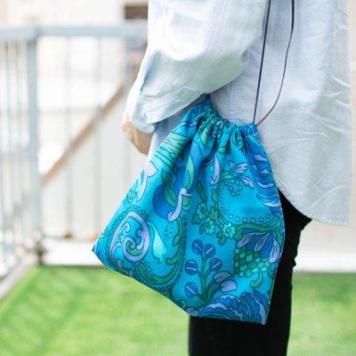 HANA(ハナ) 花柄巾着バッグ 大人っぽいお洒落な巾着バッグ