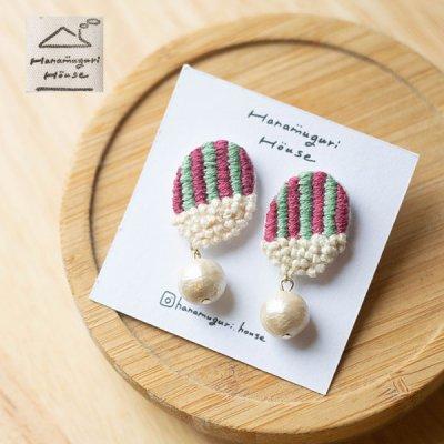 Hanamuguri&Hanamuguri house 刺繍ピアス 細かく刺繍されたお洒落なピアス♪
