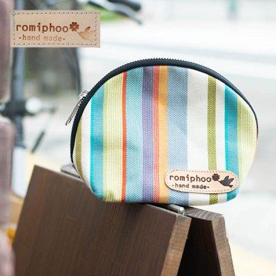 romiphoo(ロミプー) 帆布ラウンドポーチ 小物入れやお化粧ポーチとして♪