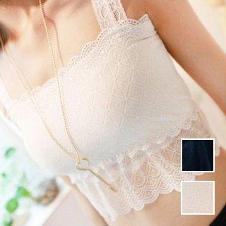 韓国 ファッション トップス Tシャツ カットソー 春 夏 カジュアル PTX0422  キャミソール ベアトップ ストラップ レース オルチャン シンプル 定番 セレカジ