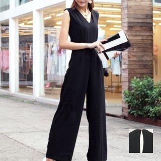 韓国 ファッション オールインワン サロペット 春 夏 パーティー ブライダル PTX1552  ノースリーブ バックスリット ハイウエスト ワイドパンツ 二次会 セレブ きれいめ