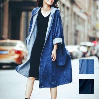 韓国 ファッション アウター コート 春 夏 カジュアル PTX2928  デニム ダウンショルダー フード付き ロング丈 ジャケット オルチャン シンプル 定番 セレカジ