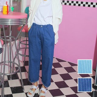 韓国 ファッション パンツ デニム ジーパン ボトムス 秋 冬 カジュアル PTX3869  ストライプ ワイド バギー パンツ Gパン オルチャン シンプル 定番 セレカジ