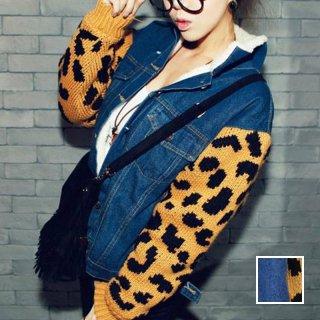 韓国 ファッション アウター ジャケット 秋 冬 カジュアル PTX3880  レオパード柄 ニット 長袖 裏ボア デニム 異素材 オルチャン シンプル 定番 セレカジ