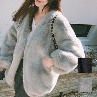 [お取り寄せ]「よりフェミニンなシルエットへ」ふんわりショート丈ファージャケット 秋 冬 PTX4170