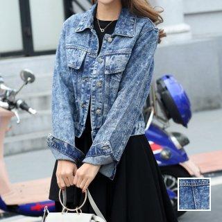 韓国 ファッション アウター ブルゾン 夏 春 カジュアル PTX4623  ショート 長袖 襟付き Gジャン ユニセックス 無地 ジャケット オルチャン シンプル 定番 セレカジ