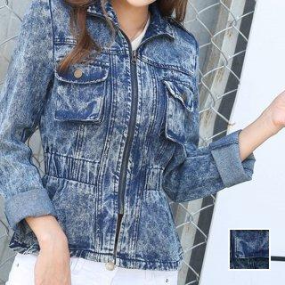 韓国 ファッション アウター ブルゾン 夏 春 カジュアル PTX4624  ショート 長袖 襟付き Gジャン 無地 ジャケット オルチャン シンプル 定番 セレカジ