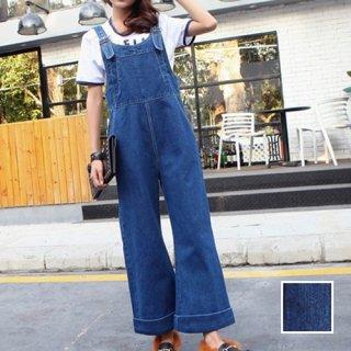 韓国 ファッション オールインワン サロペット 夏 春 カジュアル PTX4849  ロング ワイドパンツ Gパン 無地 オルチャン シンプル 定番 セレカジ