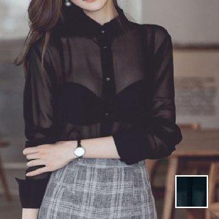 韓国 ファッション トップス ブラウス シャツ 秋 冬 春 パーティー ブライダル PTX6775  シースルー バンドカラー ハイネック ドレス 二次会 セレブ きれいめ