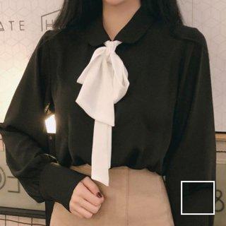 韓国 ファッション トップス ブラウス シャツ 春 夏 カジュアル PTX8361  リボン ボウタイ ロングカフス オフィス ドレス オルチャン シンプル 定番 セレカジ