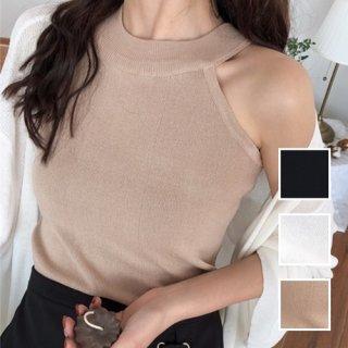 韓国 ファッション トップス Tシャツ カットソー 夏 春 カジュアル PTXA192  ホルターネック アメリカンスリーブ ベーシック リブニット タンクトップ オルチャン シンプル 定番 セレカジ