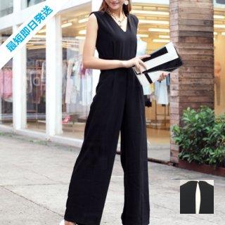 【即納】韓国 ファッション オールインワン サロペット 春 夏 パーティー ブライダル SPTX1552  ノースリーブ バックスリット ハイウエスト ワイドパンツ 二次会 セレブ きれいめ