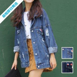 【即納】韓国 ファッション アウター ジャケット 夏 春 カジュアル SPTX4625  ミディアム 長袖 襟付き Gジャン 無地 ・ブルゾン オルチャン シンプル 定番 セレカジ